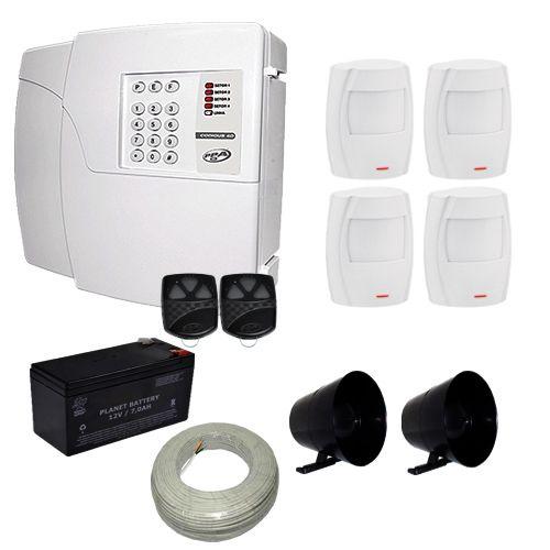 Kit de Alarme PPA Central 4 Setores Com Discadora Incorporada + 4 sensores Infravermelho Smart Solid  - Tudoseg Cftv - Sistemas de Segurança Eletrônica