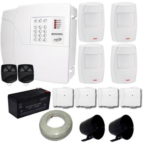 Kit de Alarme PPA Central 4 Zonas Com Discadora + 4 Sensores Infravermelho + 4 Sensores Magnéticos  - Tudoseg Cftv - Sistemas de Segurança Eletrônica