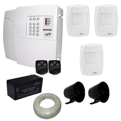 Kit de Alarme Residencial e Comercial PPA Central 4 Setores Com Discadora + 3 Sensores Infravermelho  - Tudoseg Cftv - Sistemas de Segurança Eletrônica