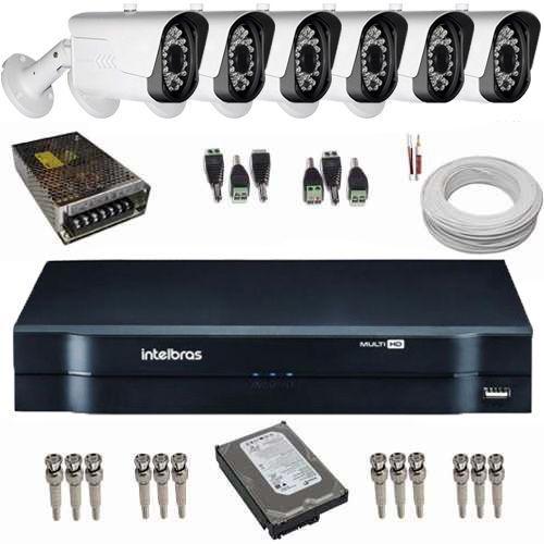 kit de Monitoramento 6 Câmeras Híbridas Full HD 1080p 2.0 Mp 42 Leds Infra + DVR Intelbras  - Tudoseg Cftv - Sistemas de Segurança Eletrônica