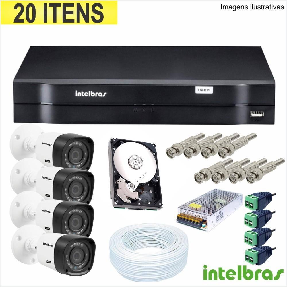 Kit de Monitoramento Intelbras 4 Câmeras Multi HD 1 Megapixel DVR 4 Canais Acesso Remoto  - Tudoseg Cftv - Sistemas de Segurança Eletrônica