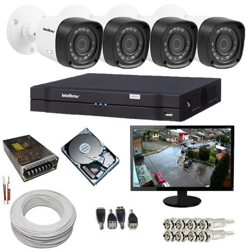 Kit de Monitoramento Intelbras 4 Câmeras Multi HD 1 Megapixel DVR Multi HD 4 Canais + Monitor 15 Polegadas  - Tudoseg Cftv - Sistemas de Segurança Eletrônica