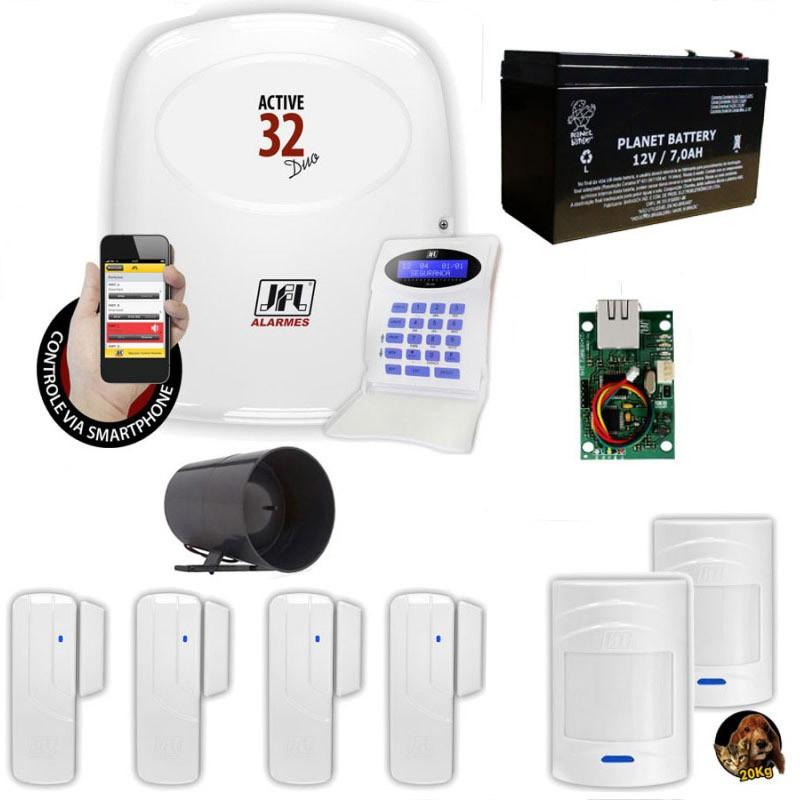 Kit Jfl Com 1 Central De Alarme Active 32 Zonas + 6 Sensores  - Tudoseg Cftv - Sistemas de Segurança Eletrônica