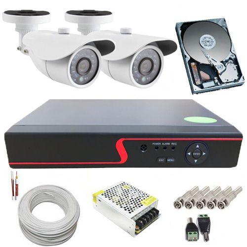 Kit Monitoramento 2 Câmeras Infravermelho Digitais 1.3 Megapixel DVR Multi HD 4 Canais Acesso Via Celular  - Tudoseg Cftv - Sistemas de Segurança Eletrônica
