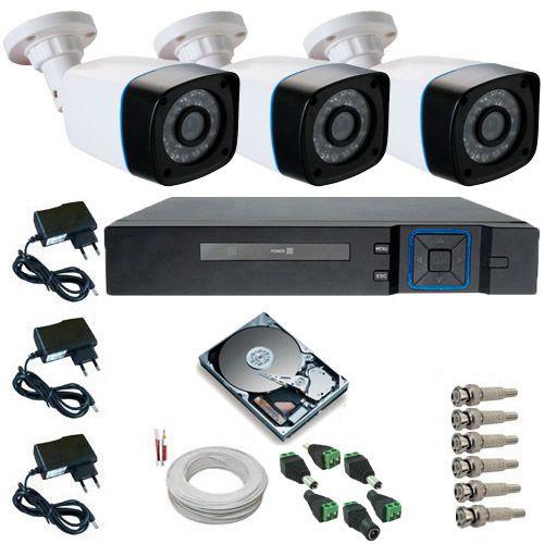 Kit Monitoramento 3 Câmeras bullet AHD 1.3 Mp 24 Leds Infravermelho DVR 4 Canais Multi HD  - Tudoseg Cftv - Sistemas de Segurança Eletrônica