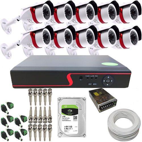 kit Vigilância 10 Câmeras Infravermelho AHD 1.3 Megapixel 720p + DVR 16 Canais Multi HD  - Tudoseg Cftv - Sistemas de Segurança Eletrônica