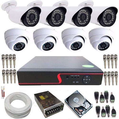 Kit Vigilância 4 Câmeras Dome de Metal AHD 1.3 Mp 4 Câmeras bullet AHD 1.3 Mp DVR 8 Canais Com Acesso Remoto  - Tudoseg Cftv - Sistemas de Segurança Eletrônica
