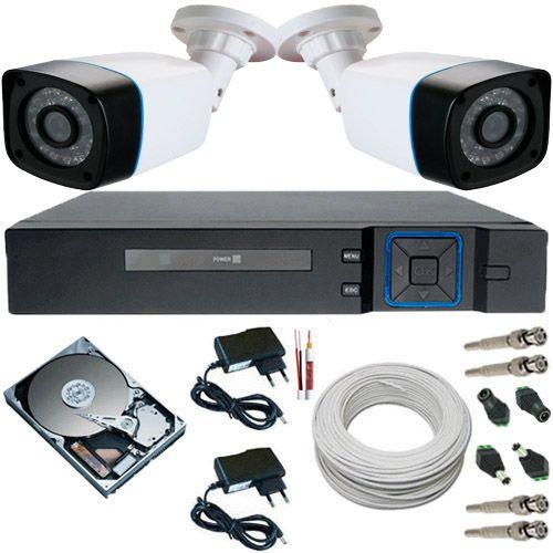 Sistema de Vigilância 2 Câmeras 24 Leds Infravermelho AHD 1.3 Mp + DVR Multi HD  - Tudoseg Cftv - Sistemas de Segurança Eletrônica