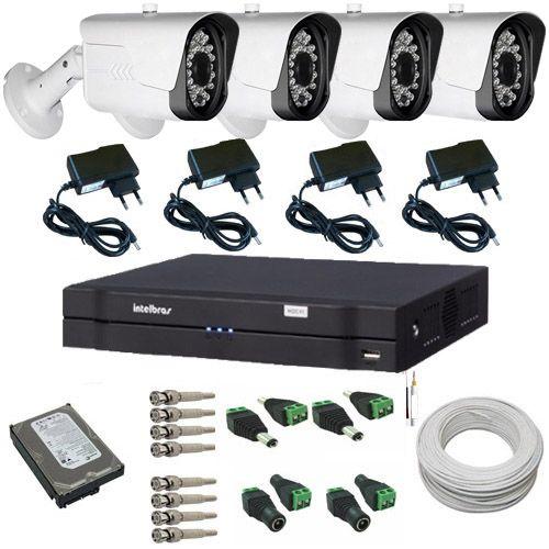 Sistema de Vigilância 4 Câmeras Híbridas Full HD 1080p 2.0 Mp DVR Intelbras Multi HD  - Tudoseg Cftv - Sistemas de Segurança Eletrônica