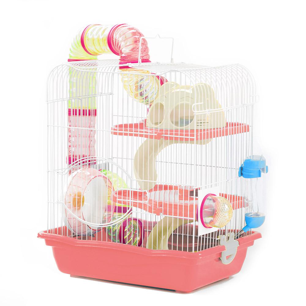 Gaiola Safari Grande para Hamster Eleva Mundi - Rosa