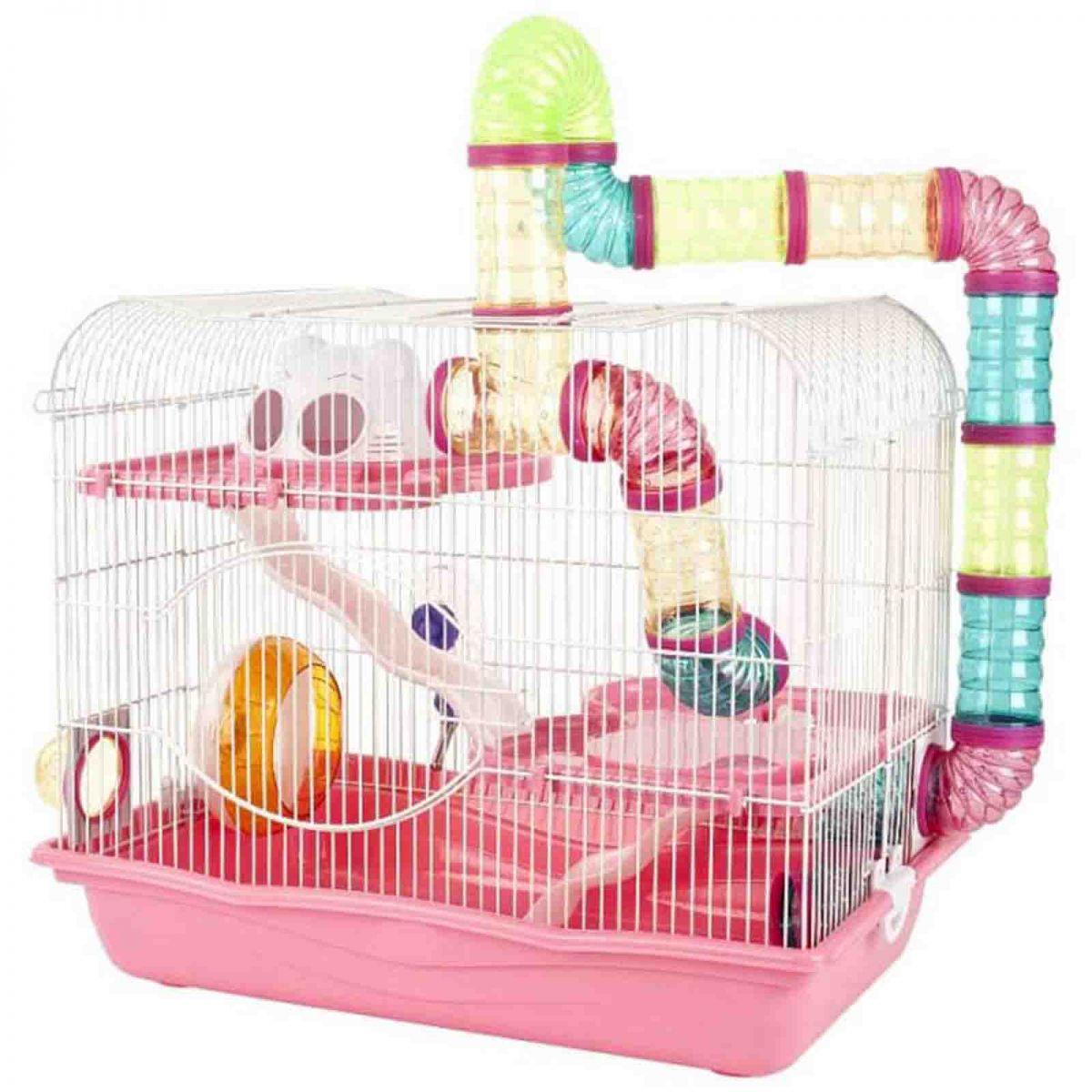 Gaiola Safari Super Gigante para Hamster Eleva Mundi - Rosa