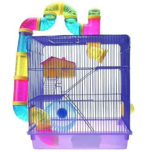 Gaiola 3 Andares para Hamster Roxa