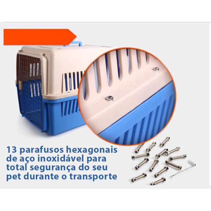 Caixa de Transporte Pet Padrão IATA para Viagem Internacional de Avião Eleva Mundi Tamanho 6 - N6