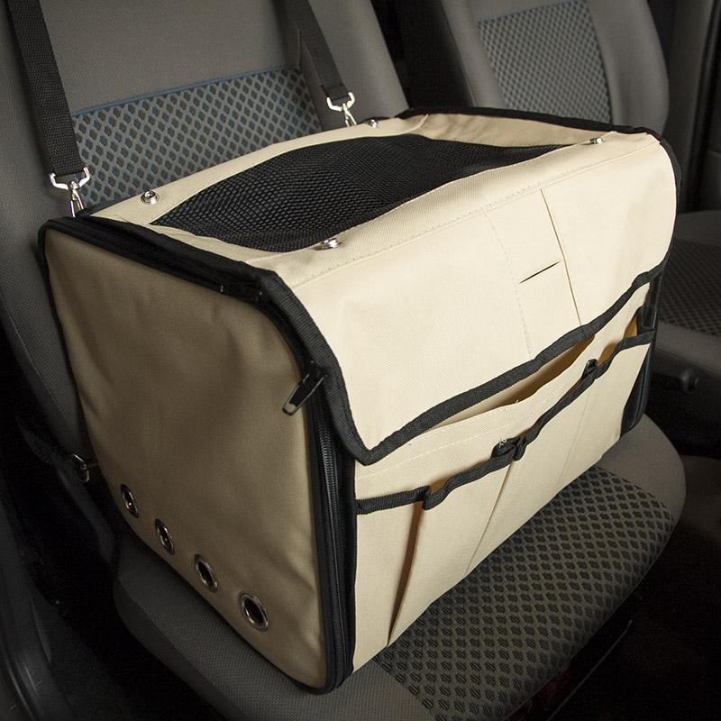 Cadeirinha de Cachorro para o Carro Vira Bolsa Bag Pet Eleva Mundi - Bege