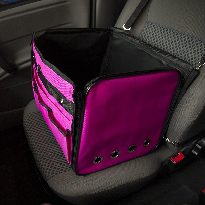 Cadeirinha de Cachorro para o Carro Vira Bolsa Bag Pet Eleva Mundi - Rosa