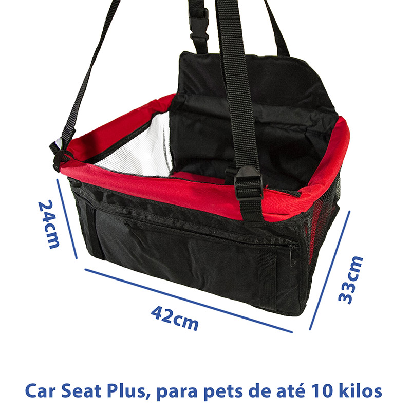 Cadeirinha de Transporte Pet Plus Eleva Mundi - Vermelha e Preta - Até 10 Kilos