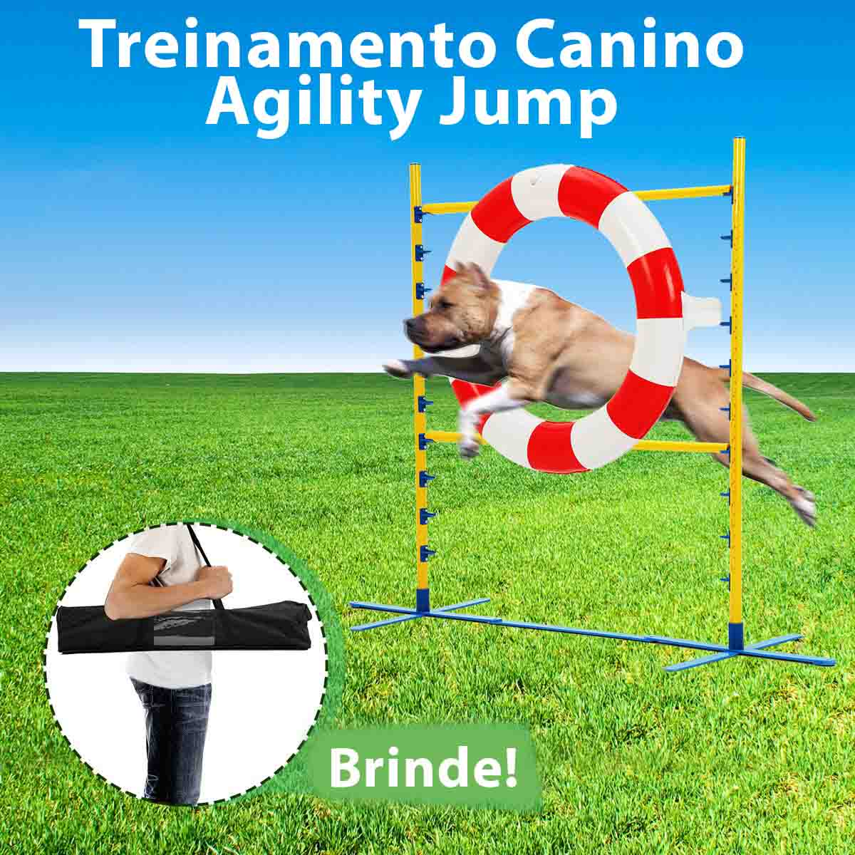 Barra com Bóia Jump Agility para Treinamento Canino Eleva Mundi