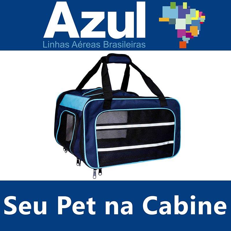 Bolsa para Transportar seu Pet na Cabine do Avião - Cia AZUL - Eleva Mundi - (Cor Azul)
