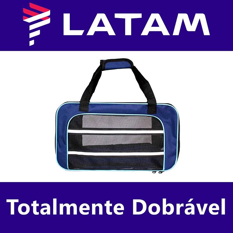 Bolsa para Transportar seu Pet na Cabine do Avião - Cia LATAM - Eleva Mundi - (Cor Azul)