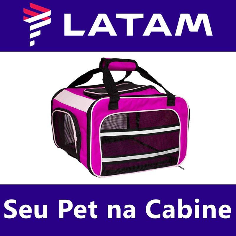 Bolsa para Transportar seu Pet na Cabine do Avião - Cia LATAM - Eleva Mundi - (Cor Rosa)