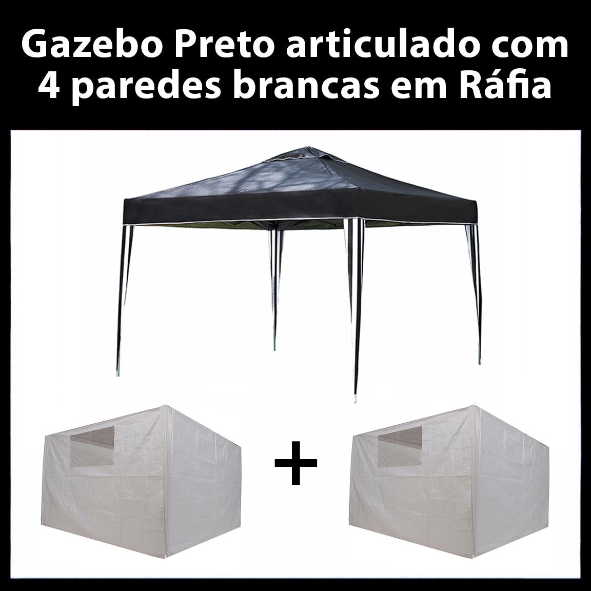 Gazebo 3x3 Articulado Preto em Aço + 4 Paredes Brancas de Ráfia Eleva Mundi