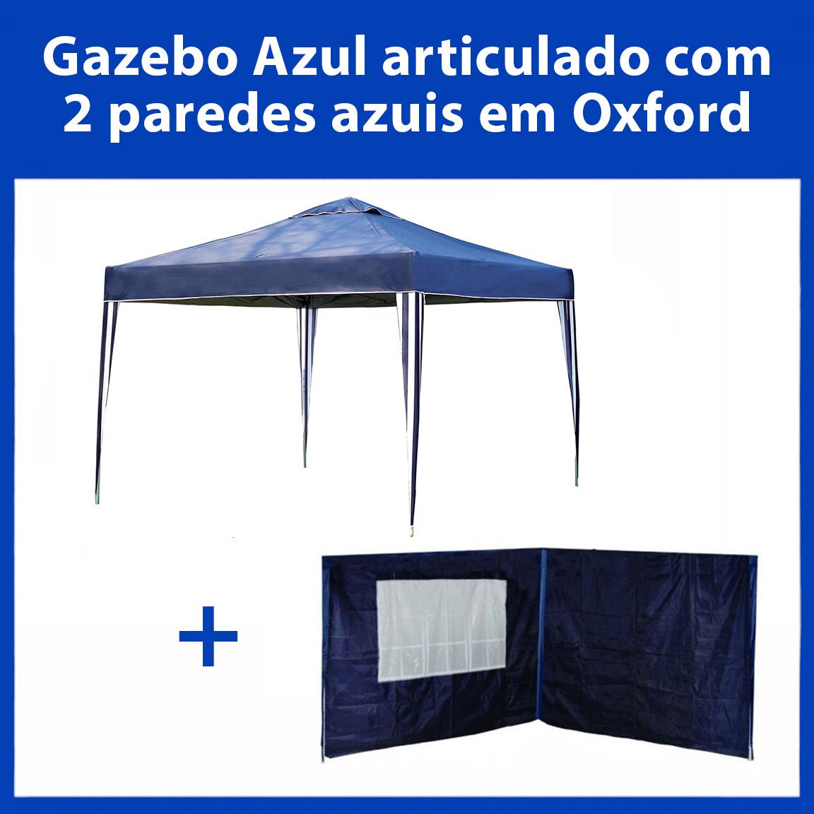 Gazebo 3x3 Articulado Azul em Aço + 2 Paredes Azuis de Oxford Eleva Mundi
