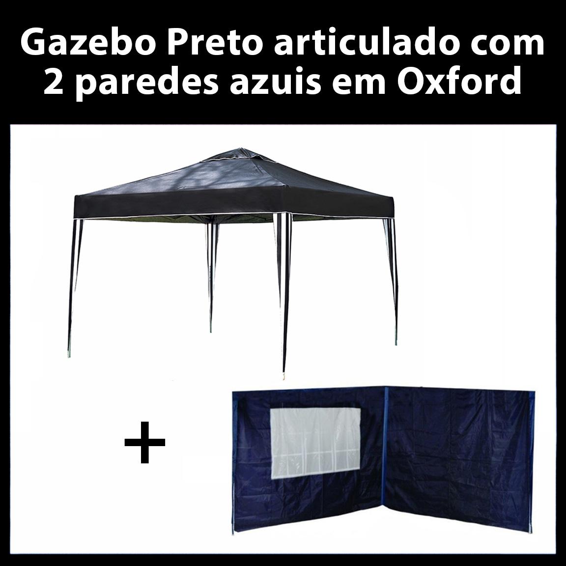 Gazebo 3x3 Articulado Preto em Aço + 2 Paredes Azuis de Oxford Eleva Mundi