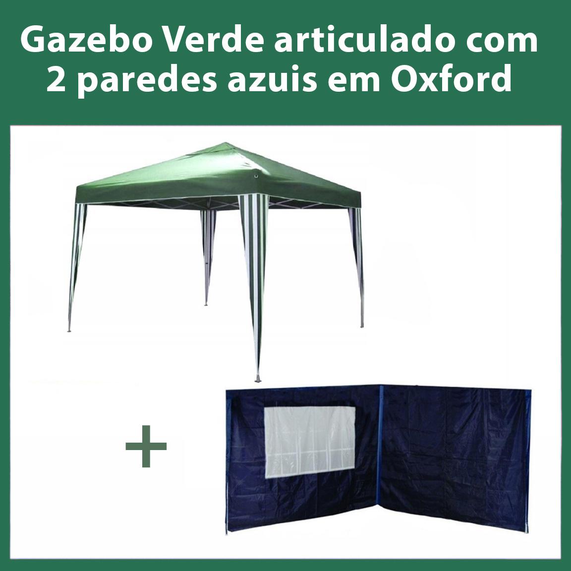 Gazebo 3x3 Articulado Verde em Aço + 2 Paredes Azuis de Oxford Eleva Mundi