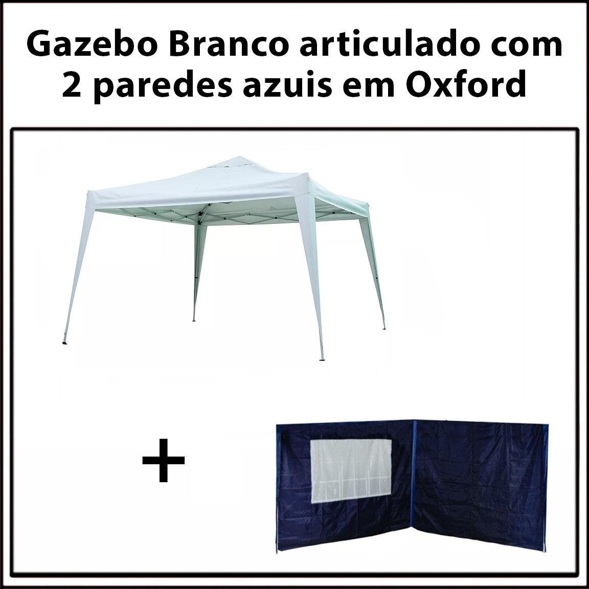 Gazebo 3x3 Articulado Branco em Aço + 2 Paredes Azuis de Oxford Eleva Mundi