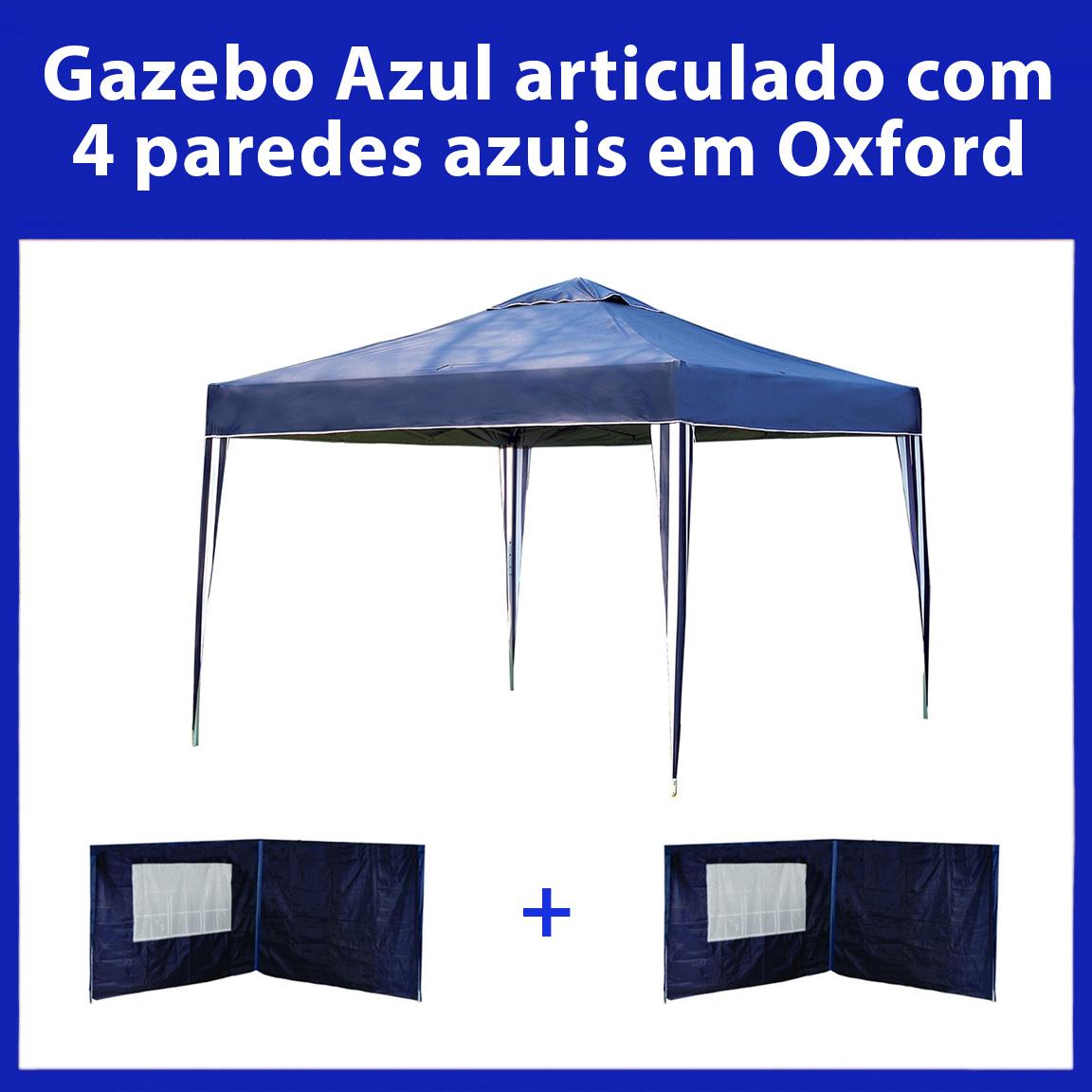 Gazebo 3x3 Articulado Azul em Aço + 4 Paredes Azuis de Oxford Eleva Mundi