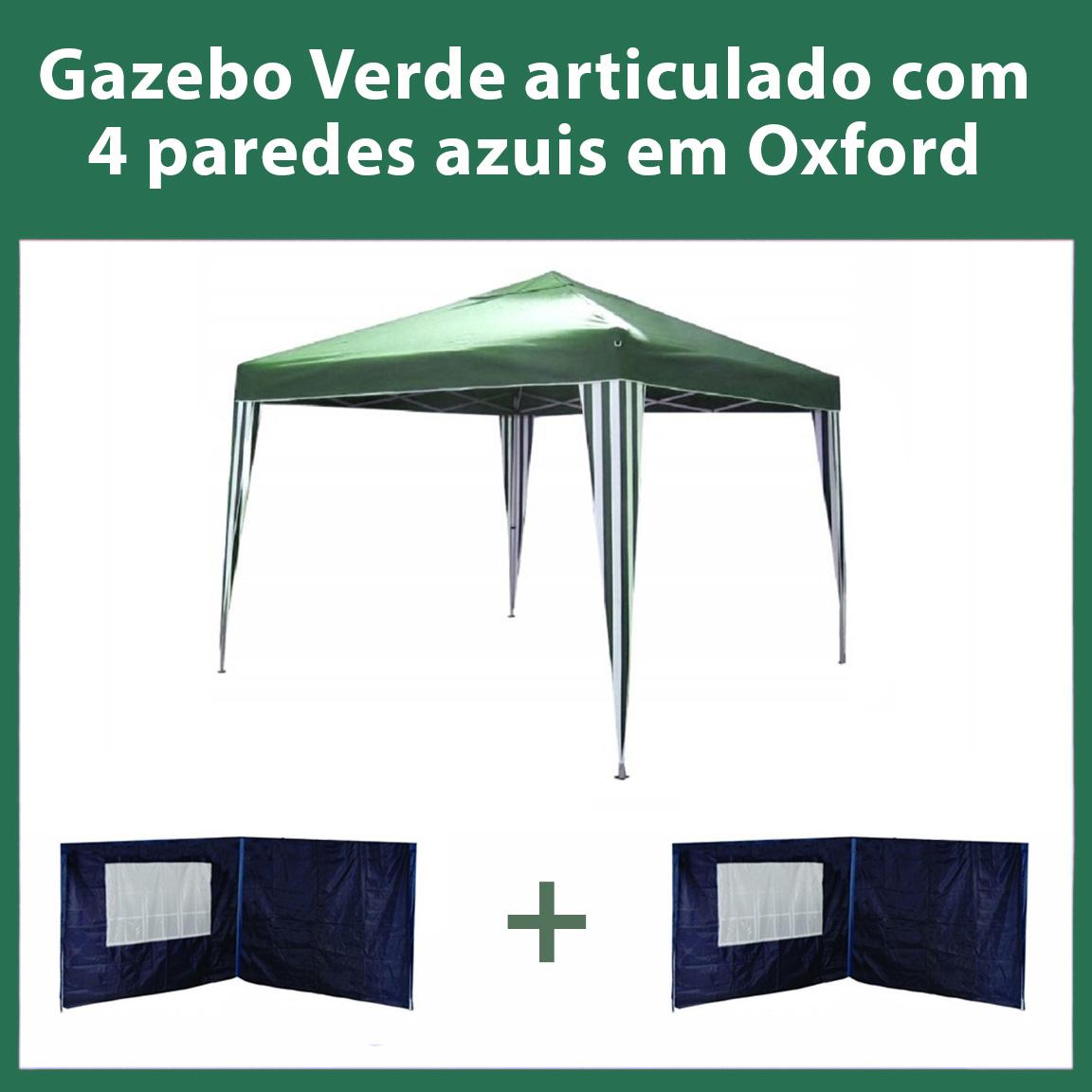 Gazebo 3x3 Articulado Verde em Aço + 4 Paredes Azuis de Oxford Eleva Mundi
