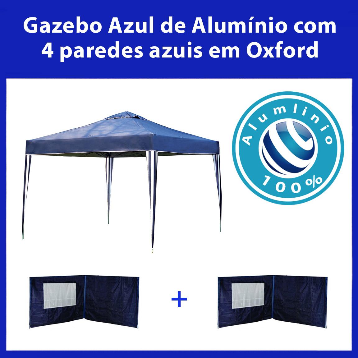 Gazebo 3x3 Articulado 100% Alumínio + 4 Paredes Azuis de Oxford Eleva Mundi - Azul