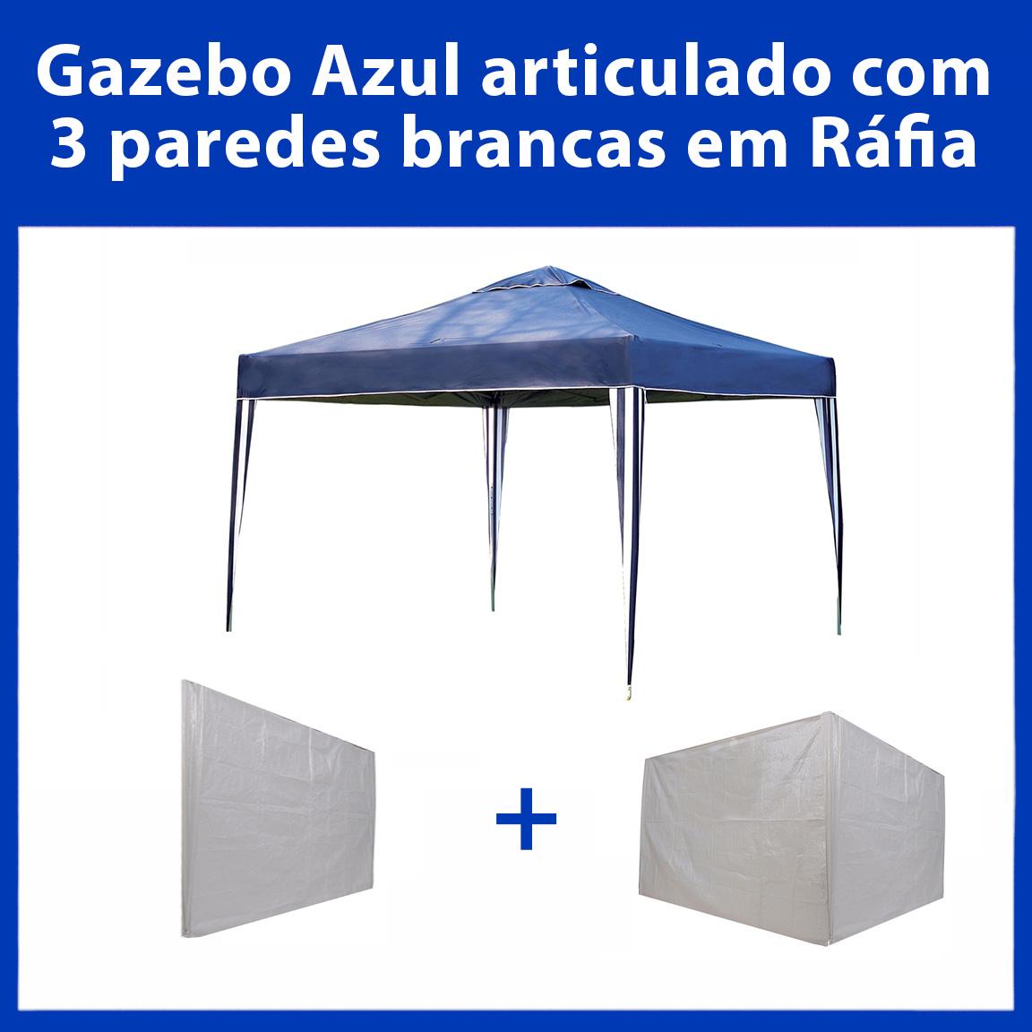 Gazebo 3x3 Articulado Azul em Aço + 3 Paredes Brancas de Ráfia Eleva Mundi