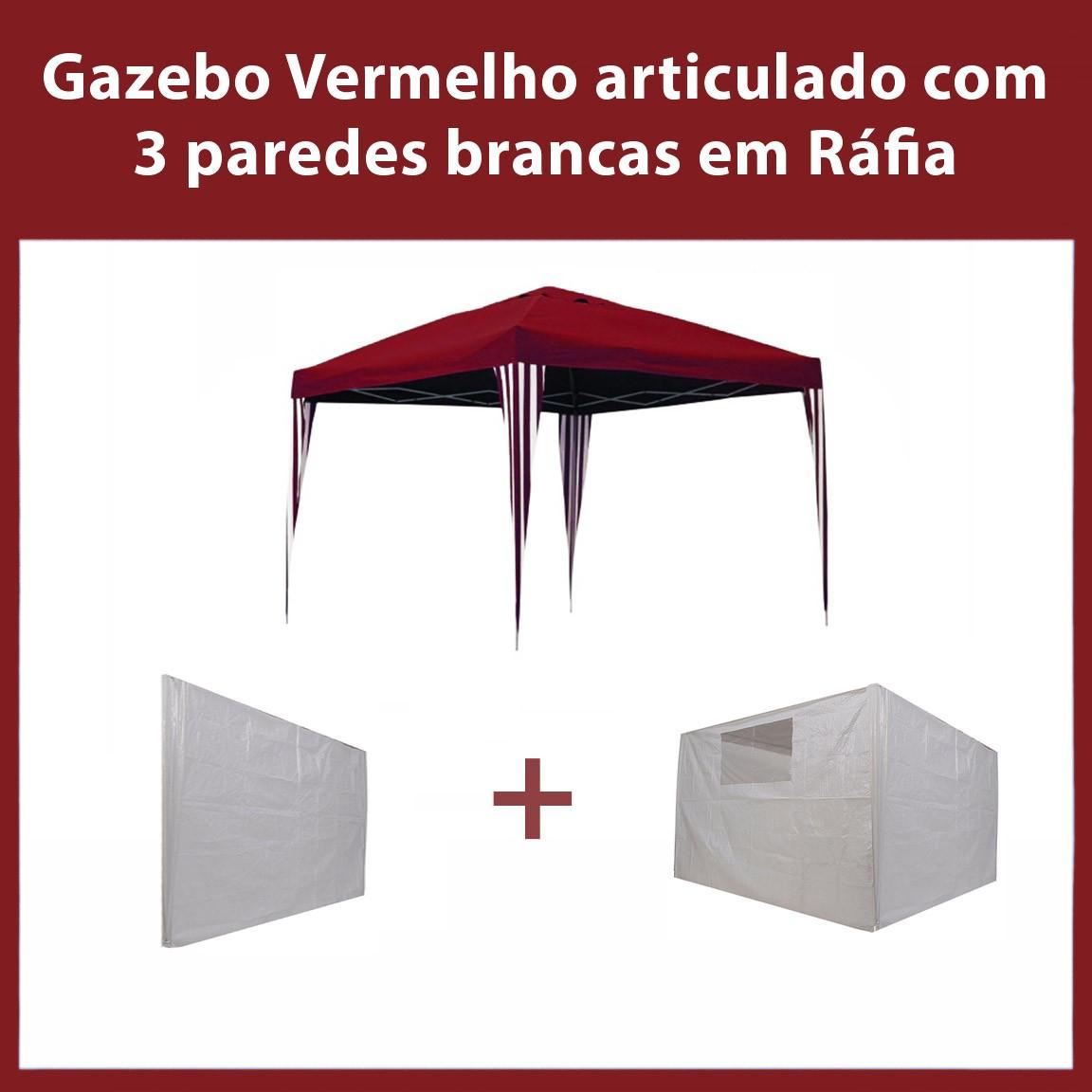 Gazebo 3x3 Articulado Vermelho em Aço + 3 Paredes Brancas de Ráfia Eleva Mundi