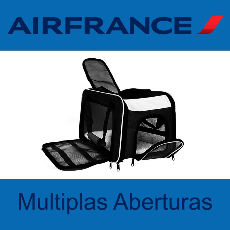 Bolsa para Transportar seu Pet na Cabine do Avião - Cia AIR FRANCE - Eleva Mundi - (Cor Preto)
