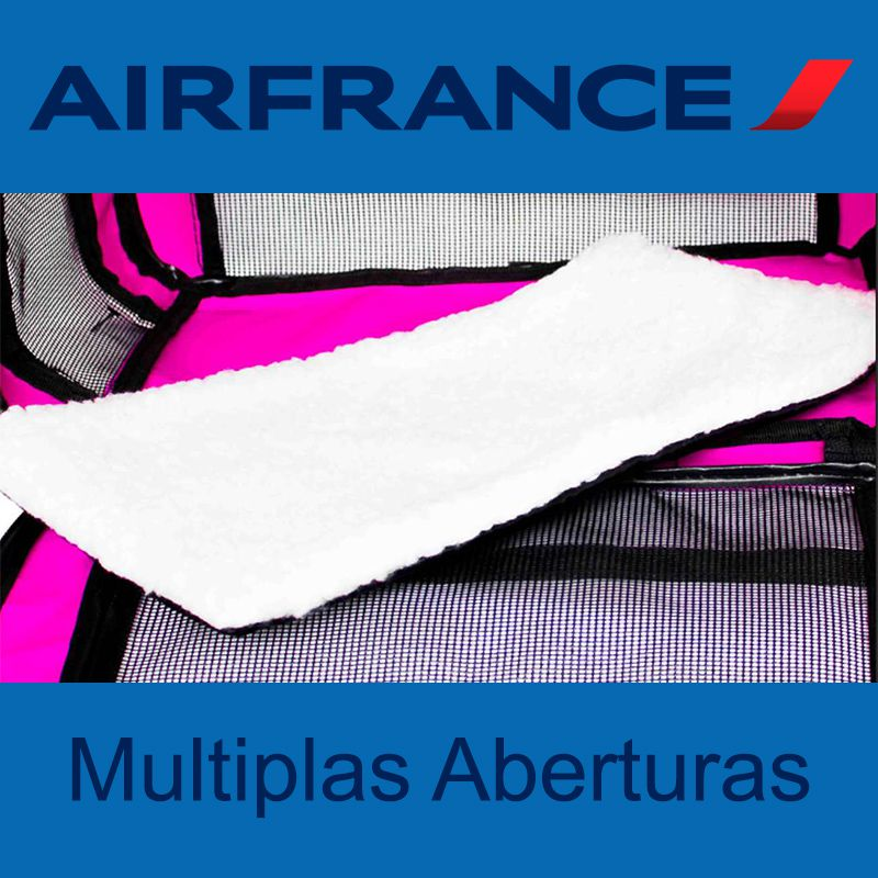 Bolsa para Transportar seu Pet na Cabine do Avião - Cia AIR FRANCE - Eleva Mundi - (Cor Rosa)