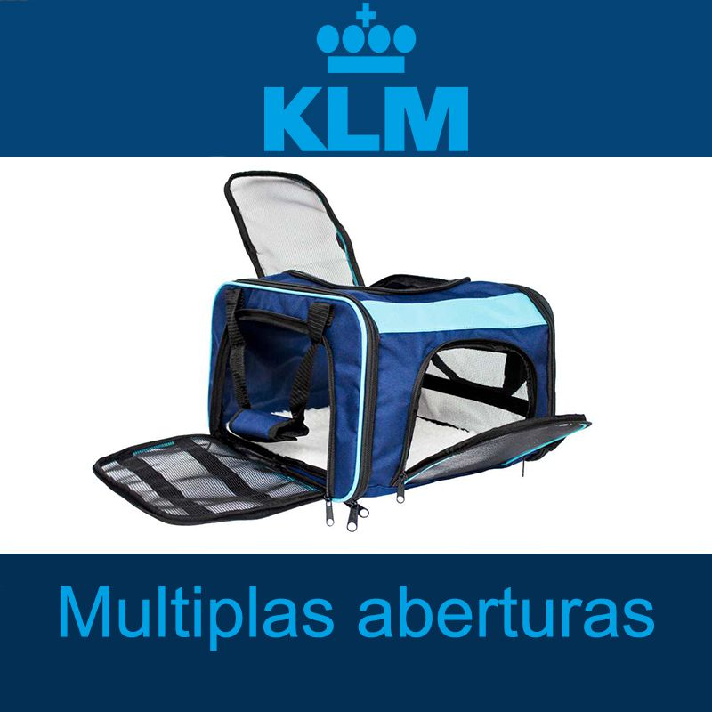 Bolsa para Transportar seu Pet na Cabine do Avião - Cia KLM - Eleva Mundi - (Cor Azul)