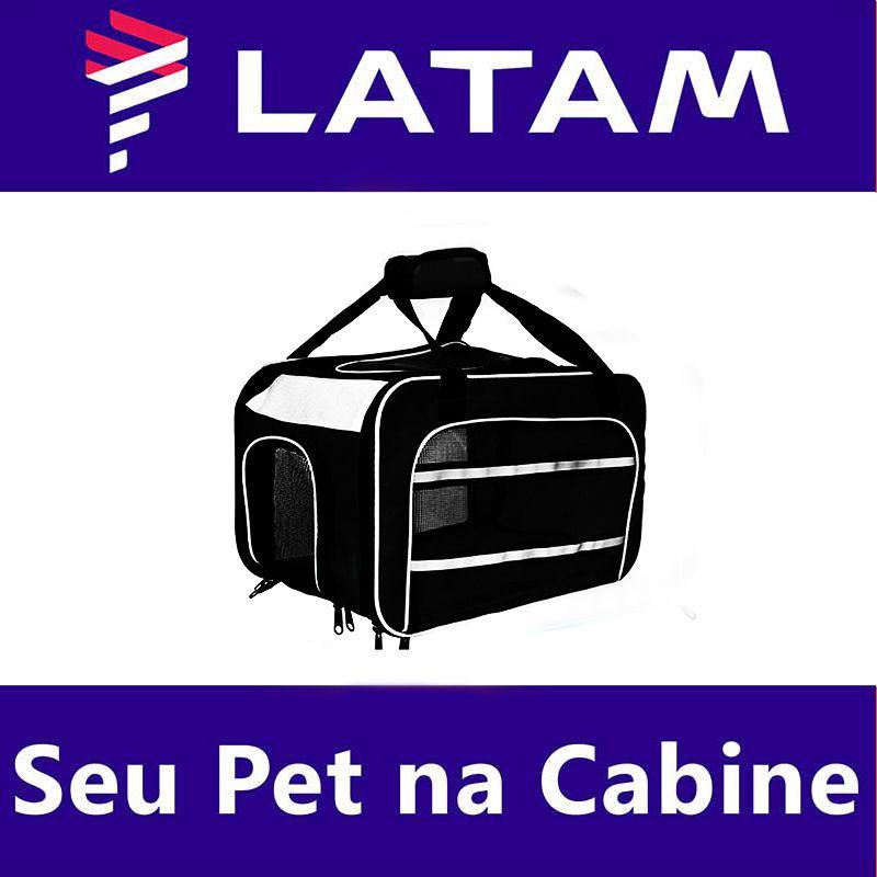 Bolsa para Transportar seu Pet na Cabine do Avião - Cia LATAM - Eleva Mundi - (Cor Preto)