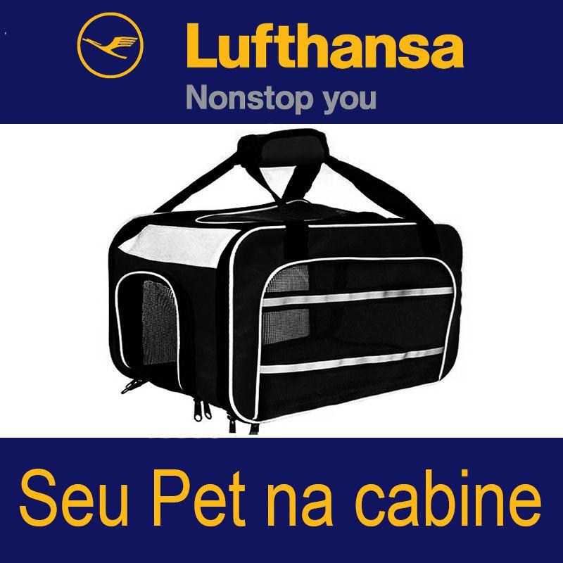 BOLSA PARA TRANSPORTAR SEU PET NA CABINE DO AVIÃO - CIA LUFTHANSA (COR PRETO) - ELEVA MUNDI