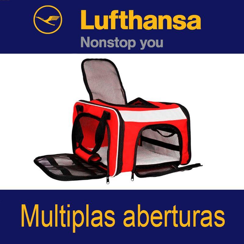 BOLSA PARA TRANSPORTAR SEU PET NA CABINE DO AVIÃO - CIA LUFTHANSA (COR VERMELHO) - ELEVA MUNDI