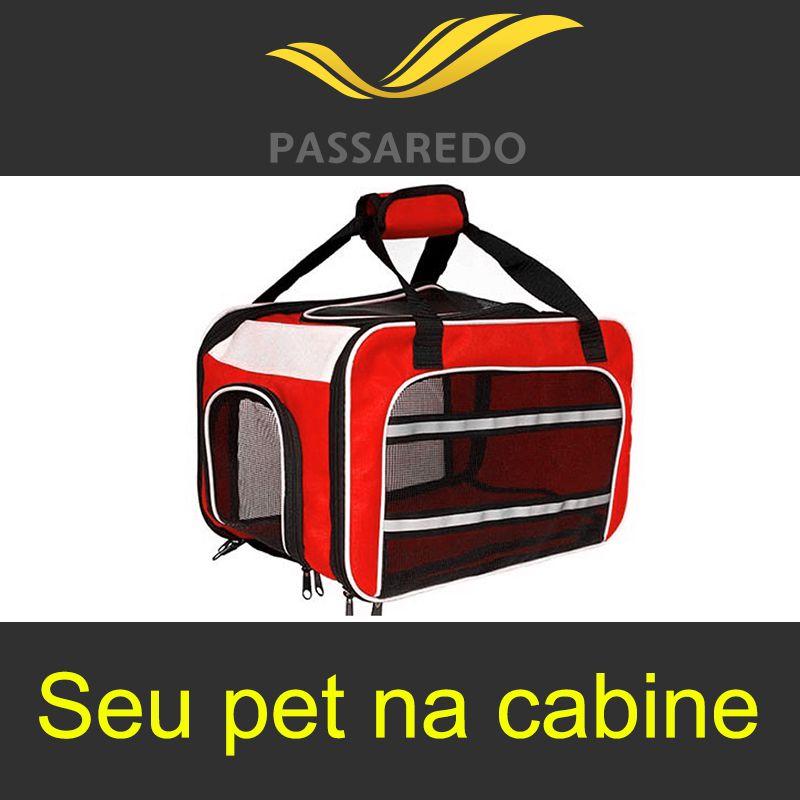 Bolsa para Transportar seu Pet na Cabine do Avião - Cia Passaredo - Eleva Mundi - (Cor Vermelho)
