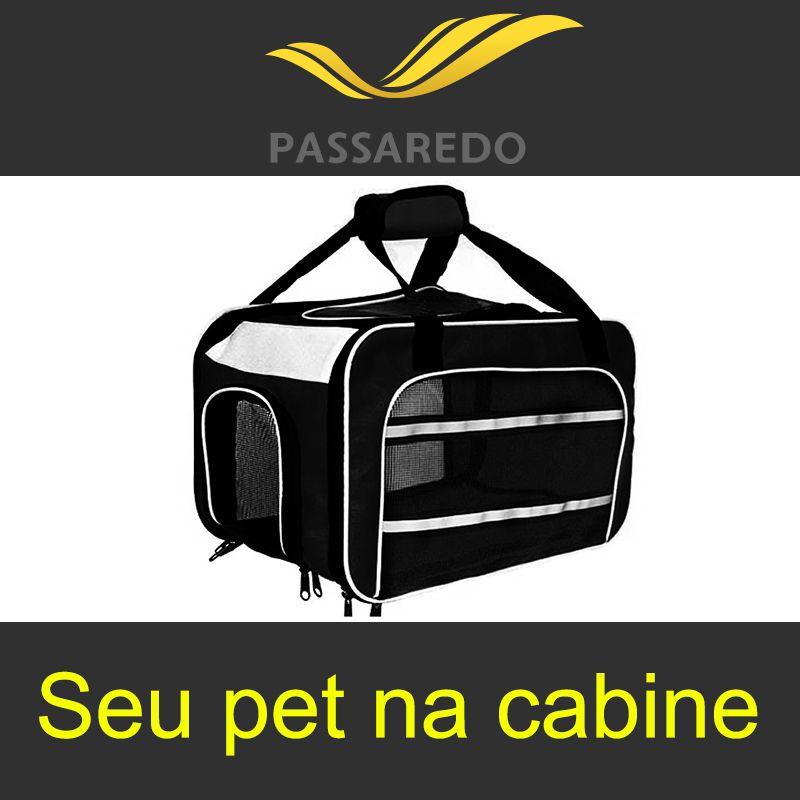 Bolsa para Transportar seu Pet na Cabine do Avião - Cia Passaredo - Eleva Mundi - (Cor Preto)