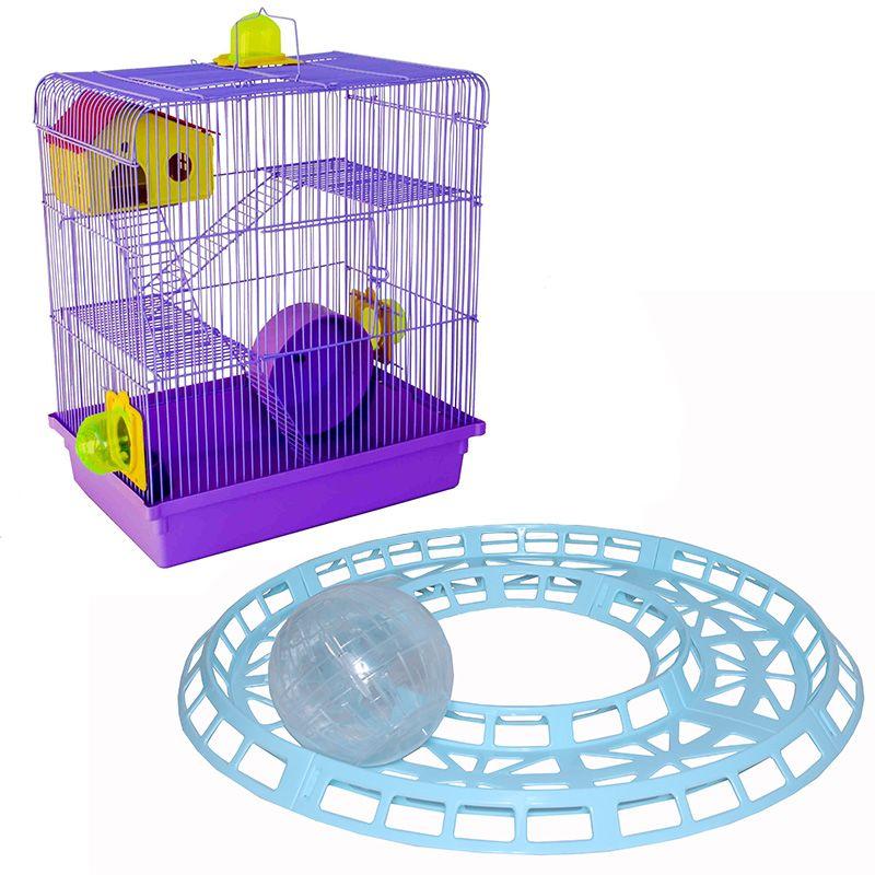 Gaiola Hamster 3 Andares Lilás Jelplast + Pista Corrida globo 14,5 cm