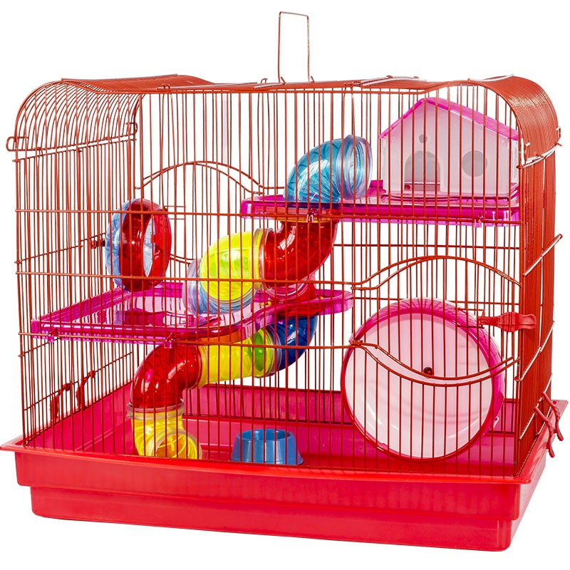 Gaiola Luxo 2 Andares Vermelha para Hamster - Jel Plast