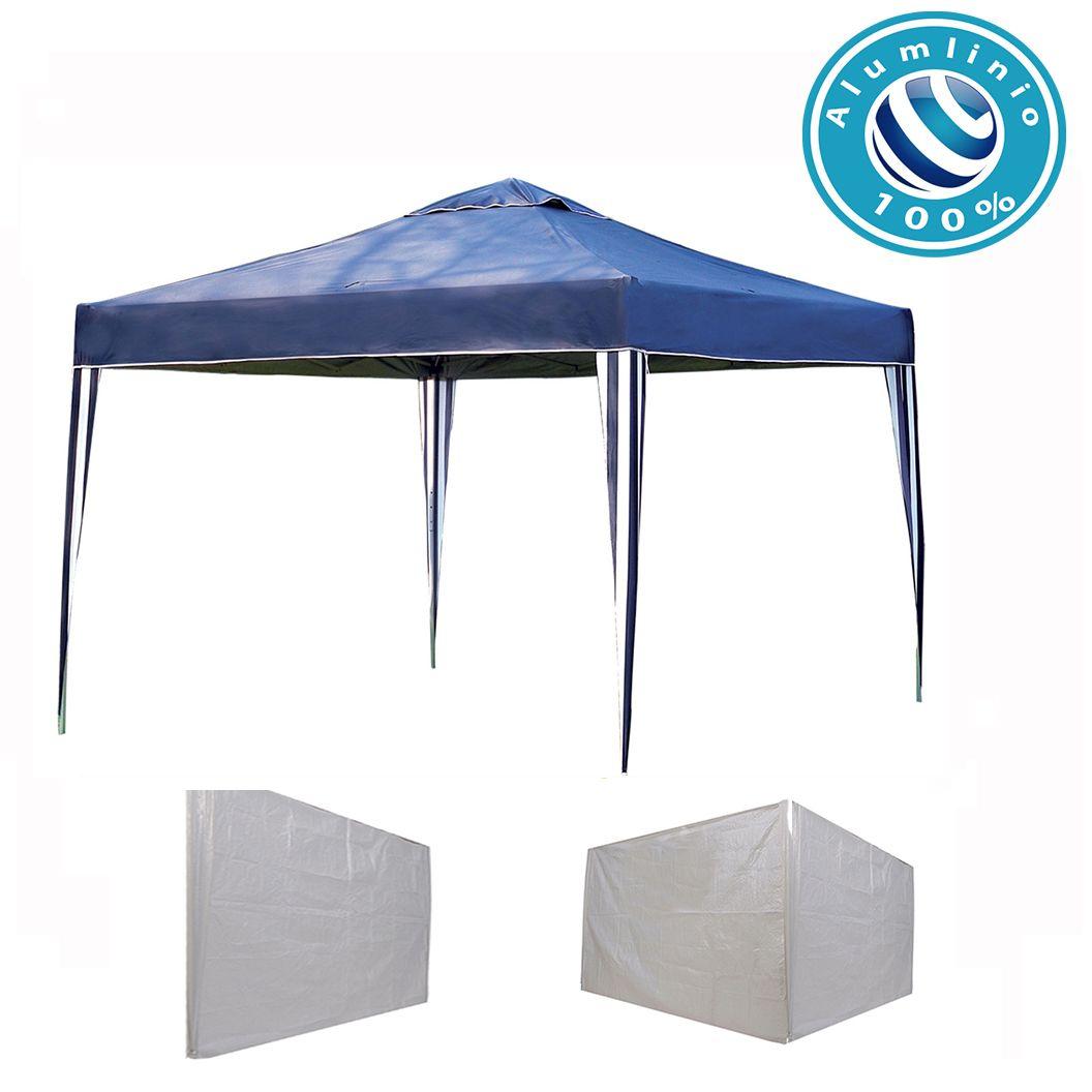 Gazebo 3x3 Articulado 100% Alumínio + 3 Paredes Brancas em Ráfia Eleva Mundi - Azul