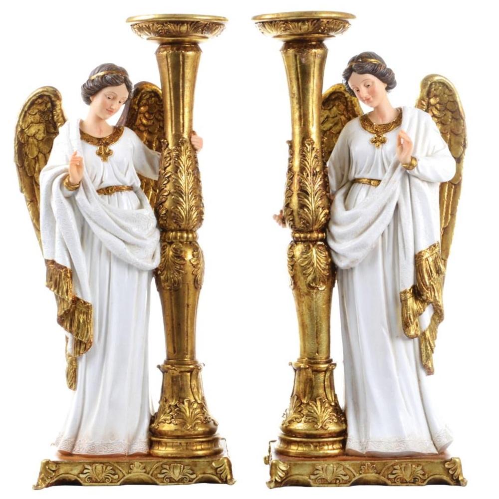 Conjunto de Anjos com Castiçais - 24 cm