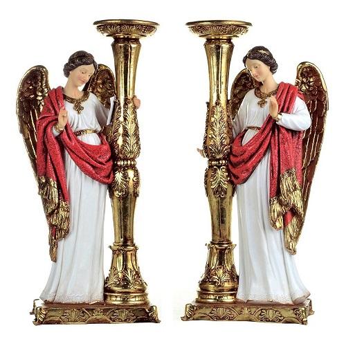 Conjunto de Anjos com Castiçais - 25 cm