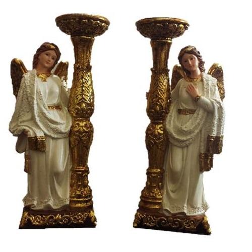 Conjunto de Anjos com Castiçais - 23 cm