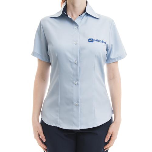 574880c67 Camisa Social Feminina Microlins Manga Curta  - Uniformes Microlins