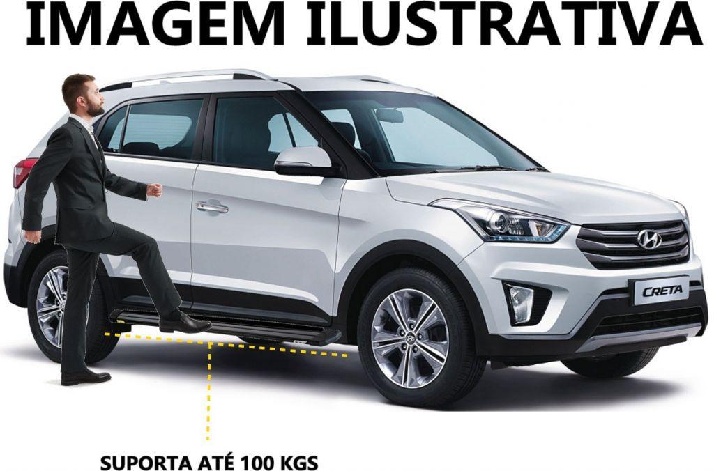 Par de Estribos Laterais Modelo Slim Novo Hyundai Creta 2017 2018 - Prata - CCF